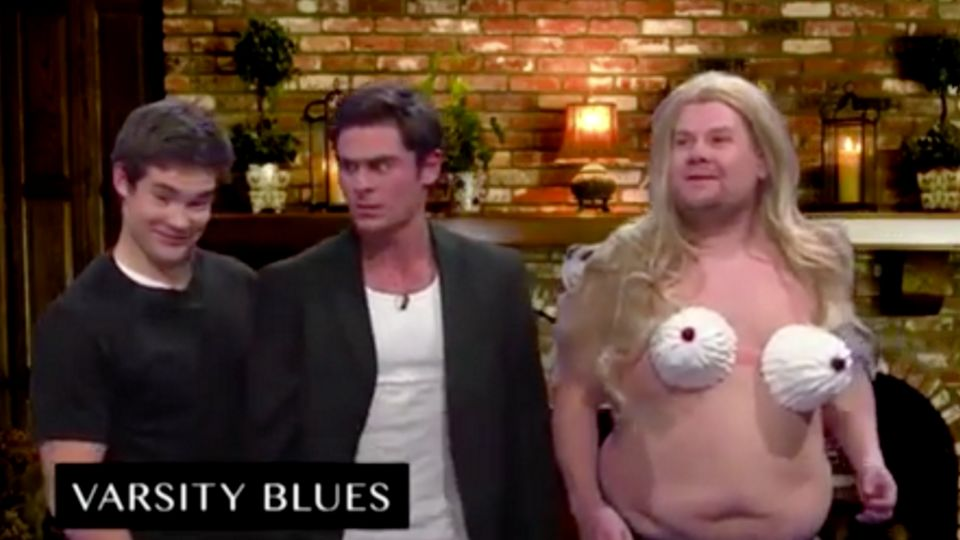 watch james corden hilariously recreates scene from